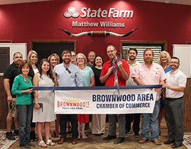Brownwood Chamber Holds Ribbon Cutting for Matthew Williams State Farm New Location